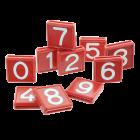 Schuifnummers rood/wit tbv koehalsband   10 stuks   BTN de Haas