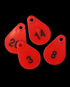 Hals-/neknummers voor schaap rood  BTN de Haas